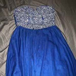 Dark blue Homecoming dress with gemstones on front